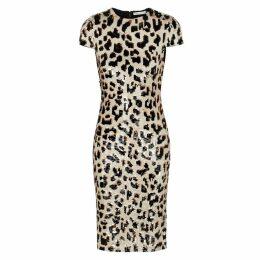 Alice + Olivia Nat Leopard Sequinned Midi Dress