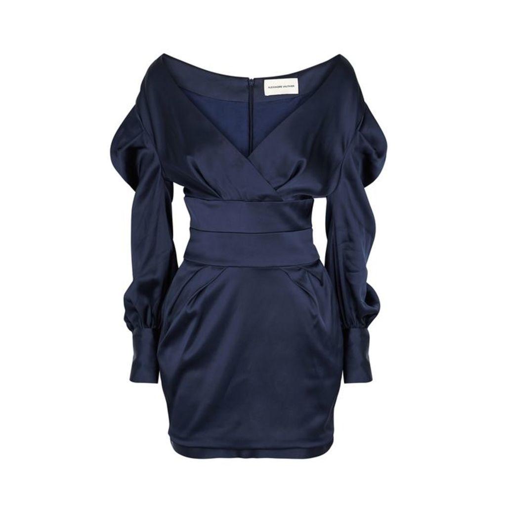 Alexandre Vauthier Navy Open-shoulder Satin Mini Dress