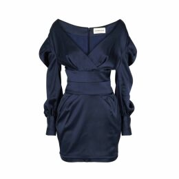 Alexandre Vauthier Navy Open-shoulder Satin Mini Dress