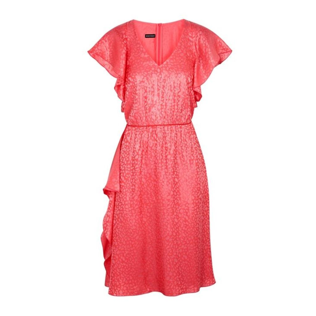 Emporio Armani Leopard-jacquard Silk-blend Dress