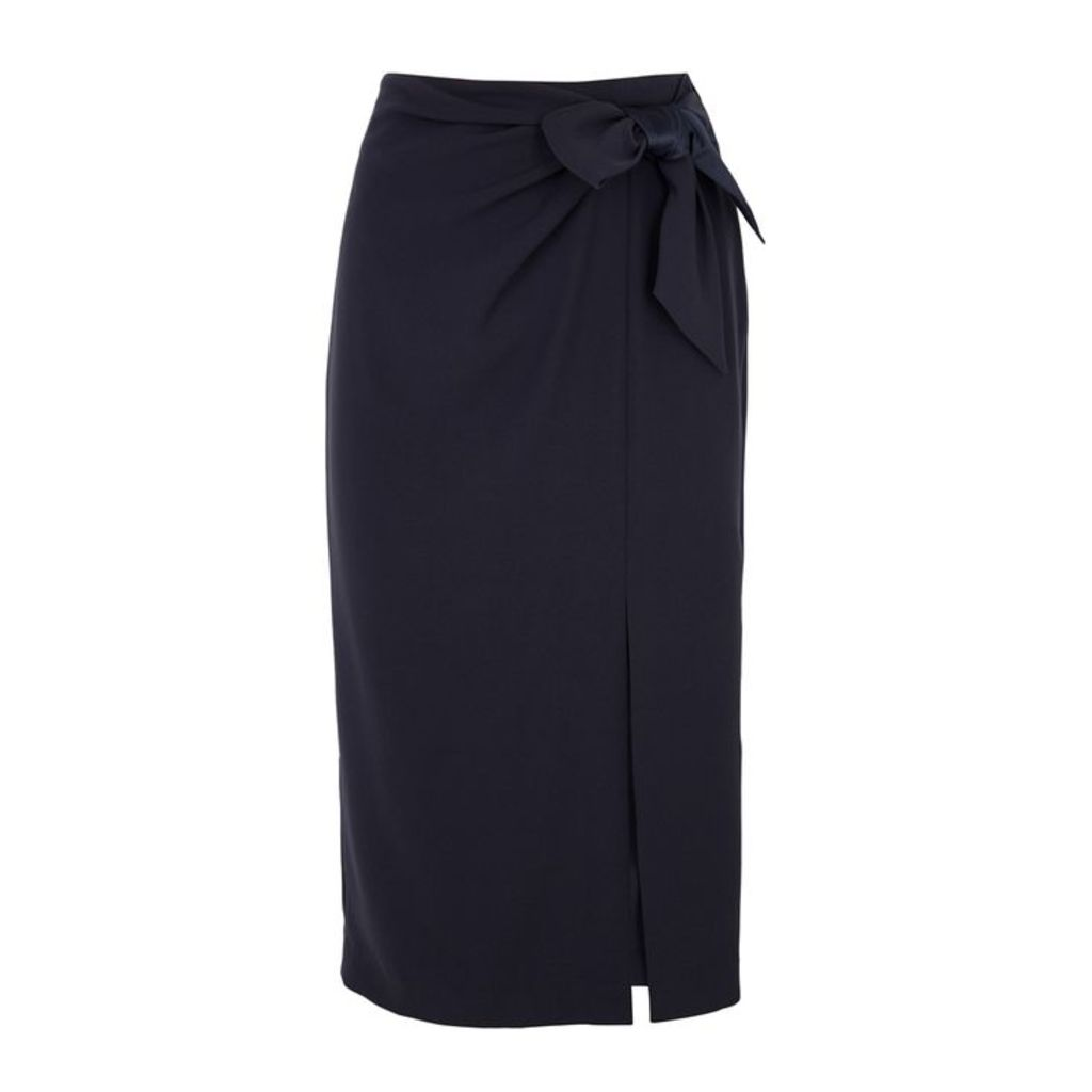 Emporio Armani Navy Bow-embellished Pencil Skirt