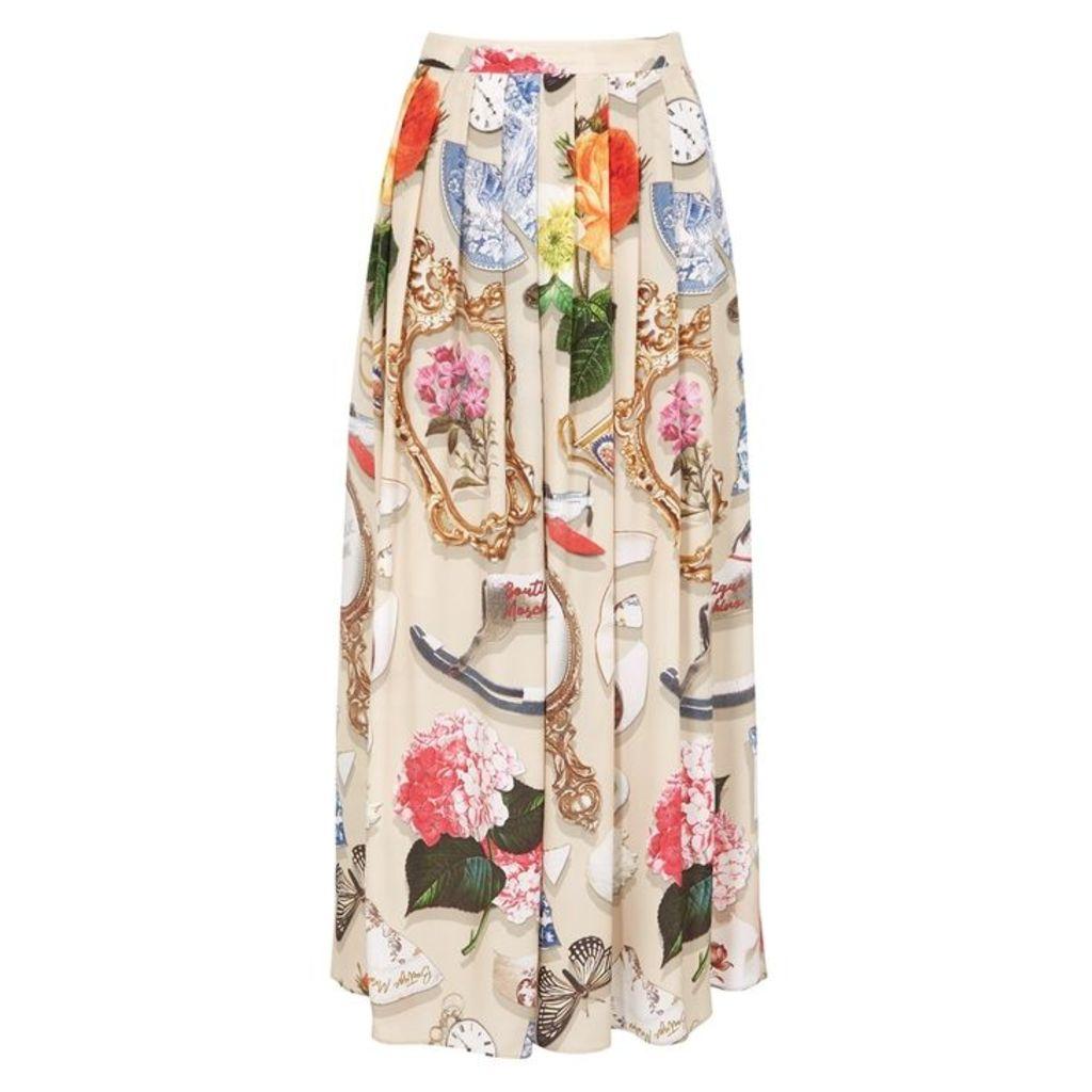 Boutique Moschino Printed Crepe De Chine Midi Skirt