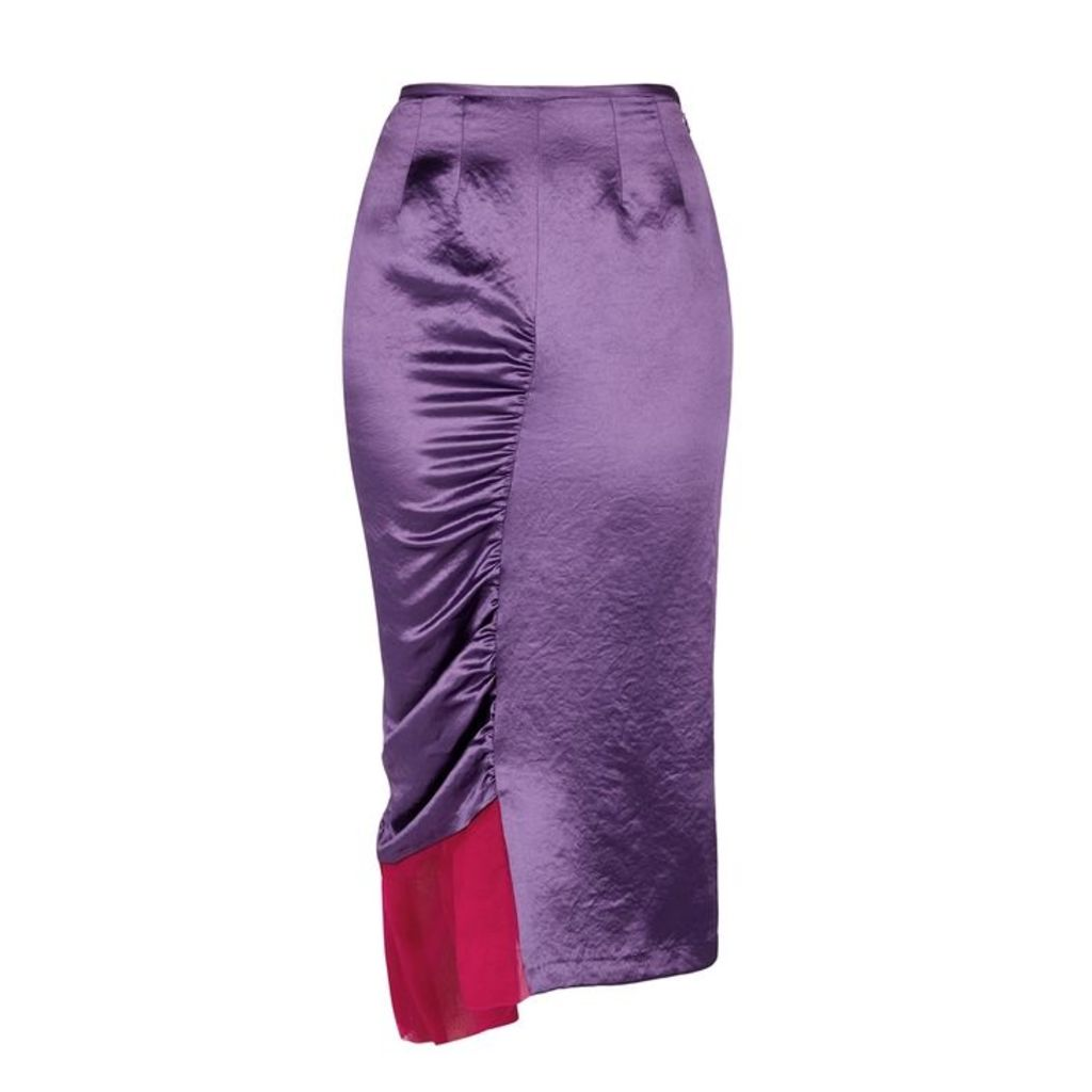 Collina Strada Chakra Purple Ruched Satin Skirt