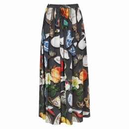 Boutique Moschino Printed Crepe De Chine Midi Skirt