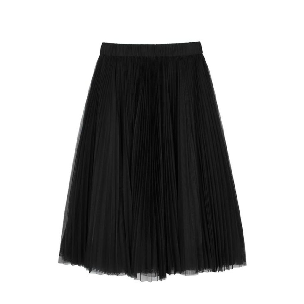 Replay Black Pleated Tulle Midi Skirt