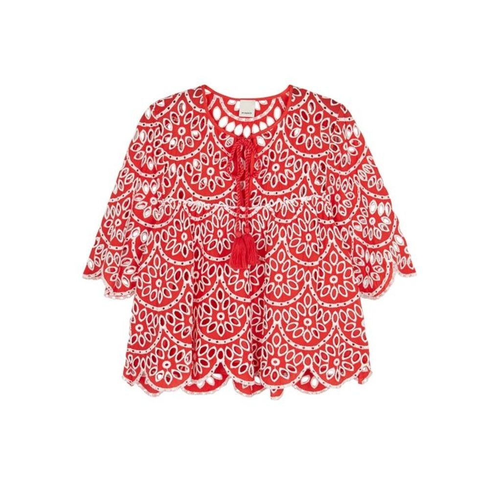 PINKO Red Broderie Anglaise Cotton Top