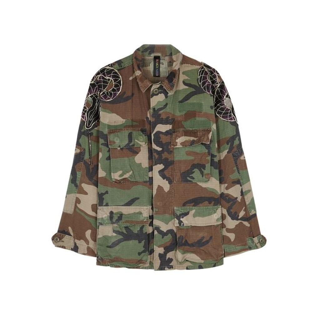 RAGYARD Snake-appliquéd Camouflage-print Jacket