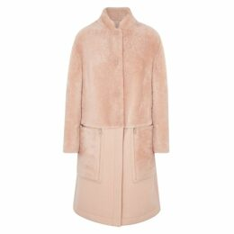 Emporio Armani Blush Shearling And Wool-blend Coat