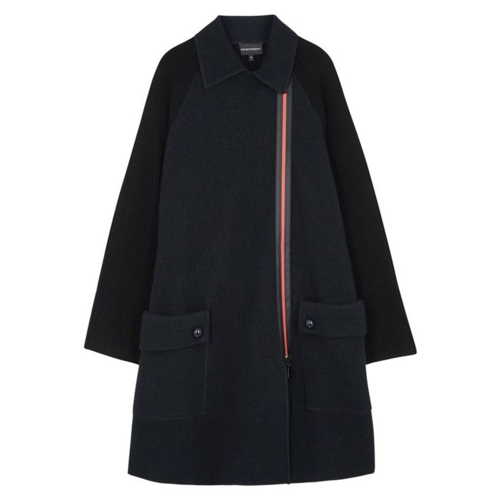 Emporio Armani Two-tone Wool And Cotton-blend Coat