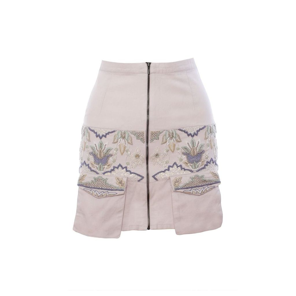 IMAIMA - Niala Hand-Embroidered Skirt In White