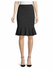 Grid-Print Ponte Skirt