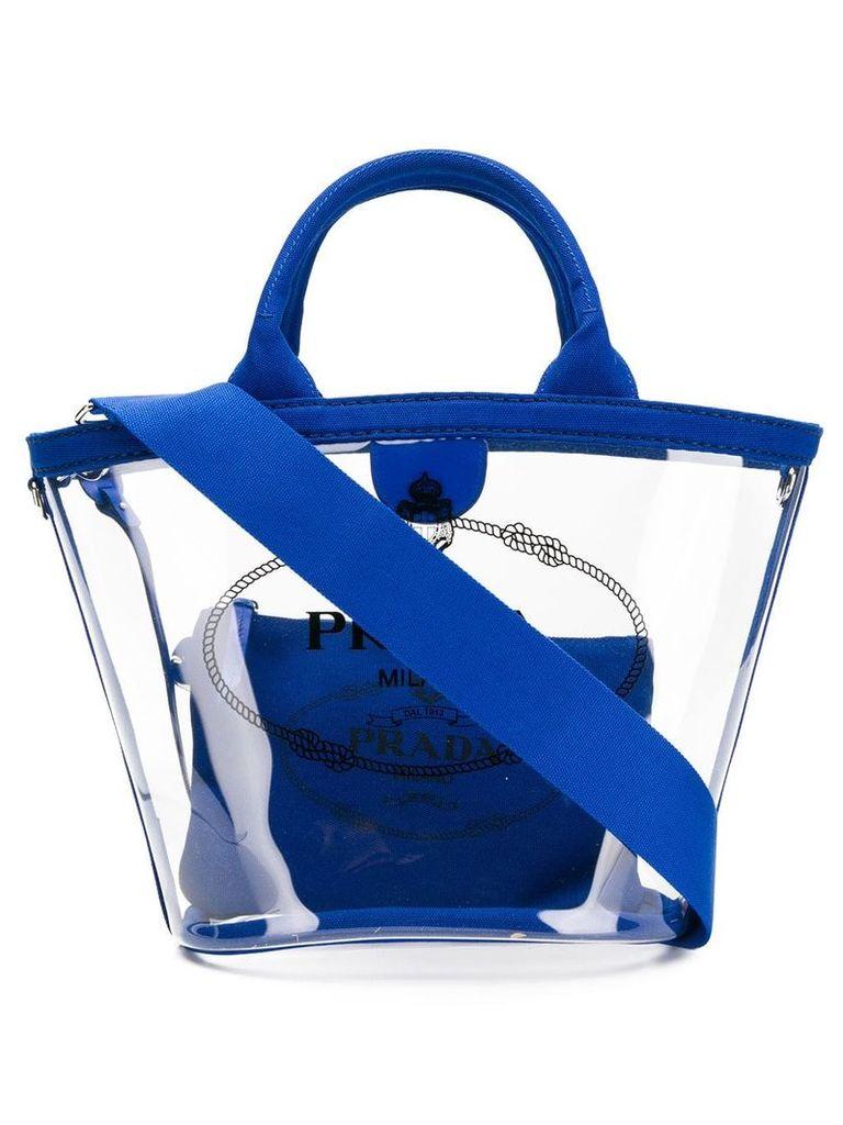 Prada clear logo tote - Blue