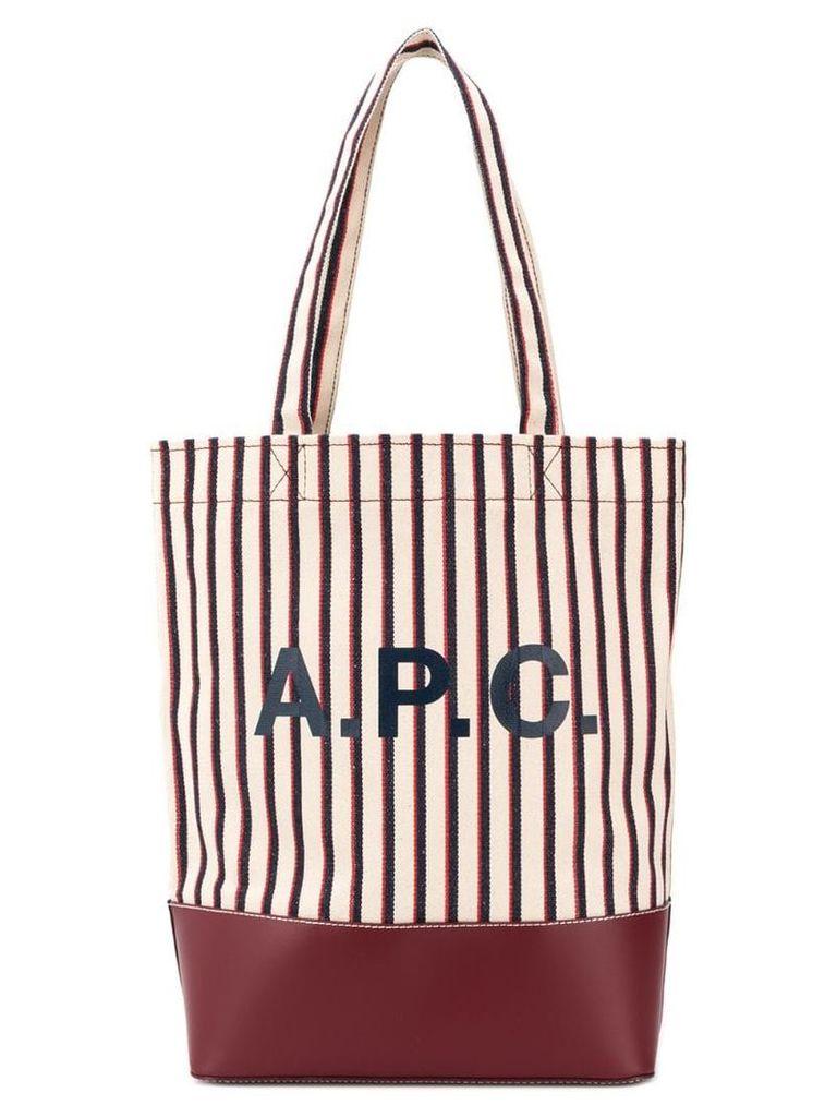 A.P.C. striped logo tote - Neutrals