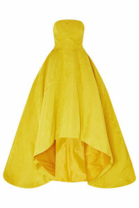 Oscar de la Renta - Strapless Asymmetric Cotton-blend Moire Gown - Yellow