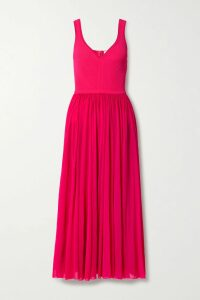 Sacai - Pleated Striped Cotton-poplin Wrap Skirt - Blue
