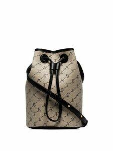 Stella McCartney beige and black logo canvas bucket bag - Neutrals