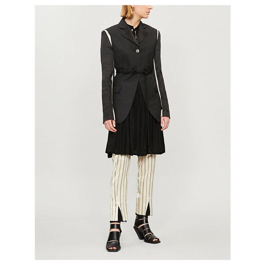 Contrast-trim belted linen-blend blazer
