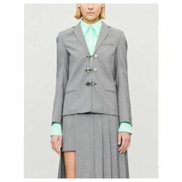 Clasp-fastening single-breasted wool blazer