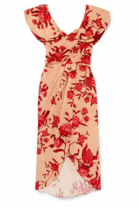 Johanna Ortiz - Ruffled Floral-print Broderie Anglaise Cotton Midi Dress - Pink