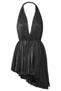 SAINT LAURENT - Asymmetric Striped Lamé Halterneck Mini Dress - Black