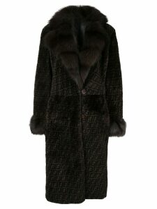 Fendi Pre-Owned Reversible Long Sleeve Fur Coat - Black