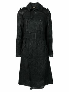 Comme Des Garçons Pre-Owned embroidered double breasted coat - Black