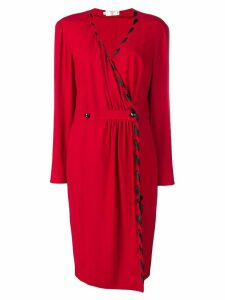 VALENTINO PRE-OWNED v-neck buttoned dress - Red