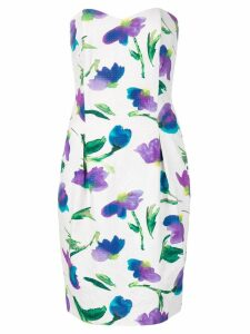 Christian Dior Pre-Owned strapless floral print dress - White