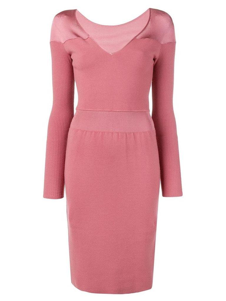 Alaïa Vintage v-neck knit dress - Pink