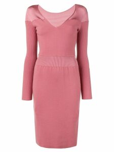 Alaïa Pre-Owned v-neck knit dress - Pink