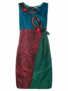 Prada Pre-Owned swan panelled short dress - Red