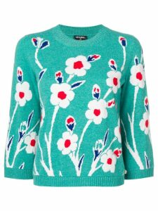 Chanel Pre-Owned floral jacquard sweater - Green