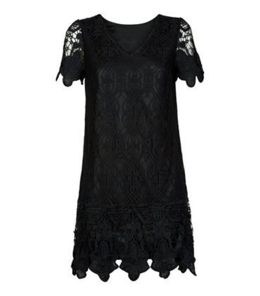 Mela Black Border Lace V Neck  Dress New Look