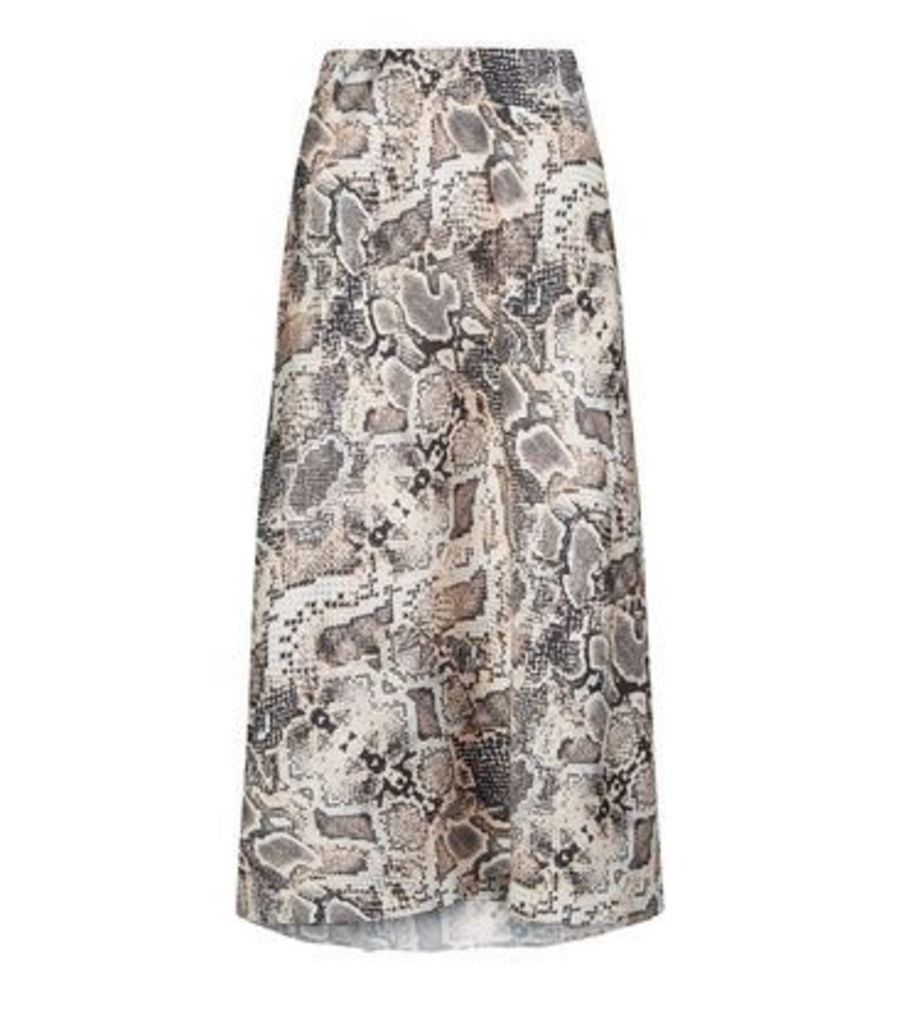 Petite Pink Snake Print Bias Cut Midi Skirt New Look