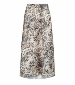 Petite Pink Snake Print Bias Cut Midi Skirt New Look