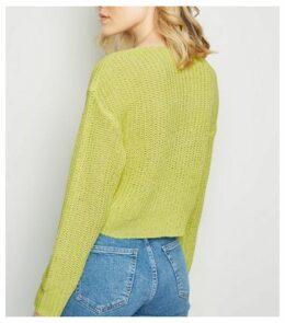 Yellow Twist Detail Knit Jumper New Look