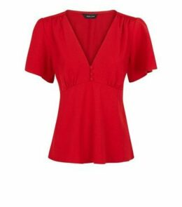 Red Button Front Tea Blouse New Look