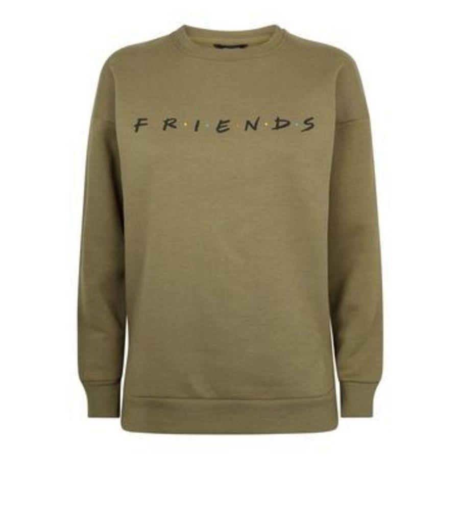 Khaki Friends Logo Sweatshirt New Look