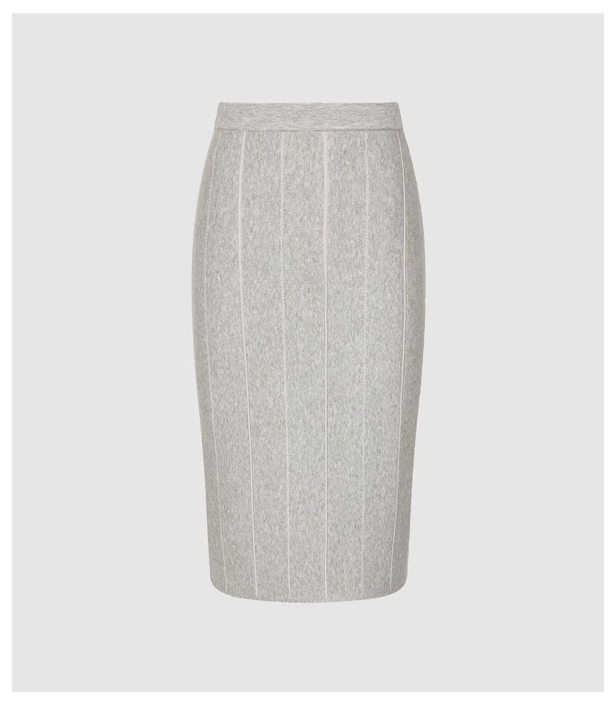 Reiss Rachel - Knitted Pencil Skirt in Grey, Womens, Size XXL