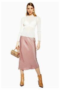 Womens Petite Stripe Satin Bias Skirt - Taupe, Taupe