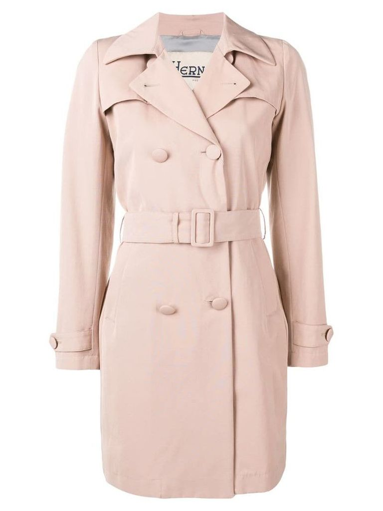 Herno belted double-breasted coat - Pink