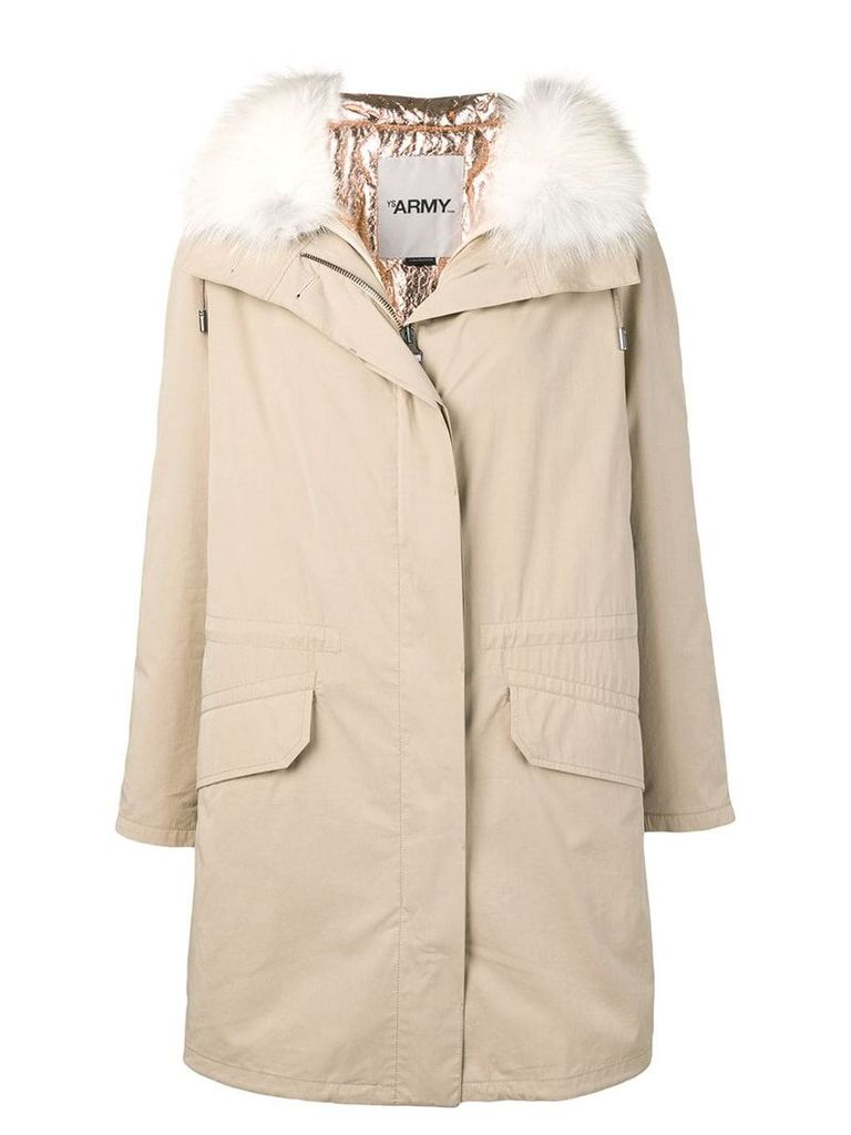 Yves Salomon Army fox fur hooded coat - Neutrals
