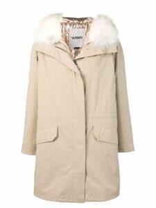 Yves Salomon Army fox fur hooded coat - Neutrals