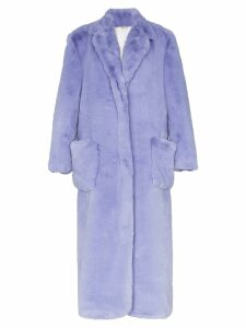 Natasha Zinko oversized long faux fur coat - Purple