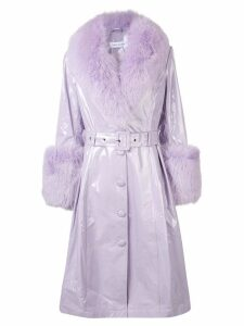 Saks Potts fox fur trim trench coat - Purple