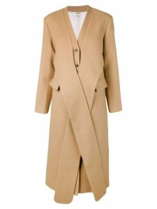 Matériel tie front single breasted coat - Neutrals