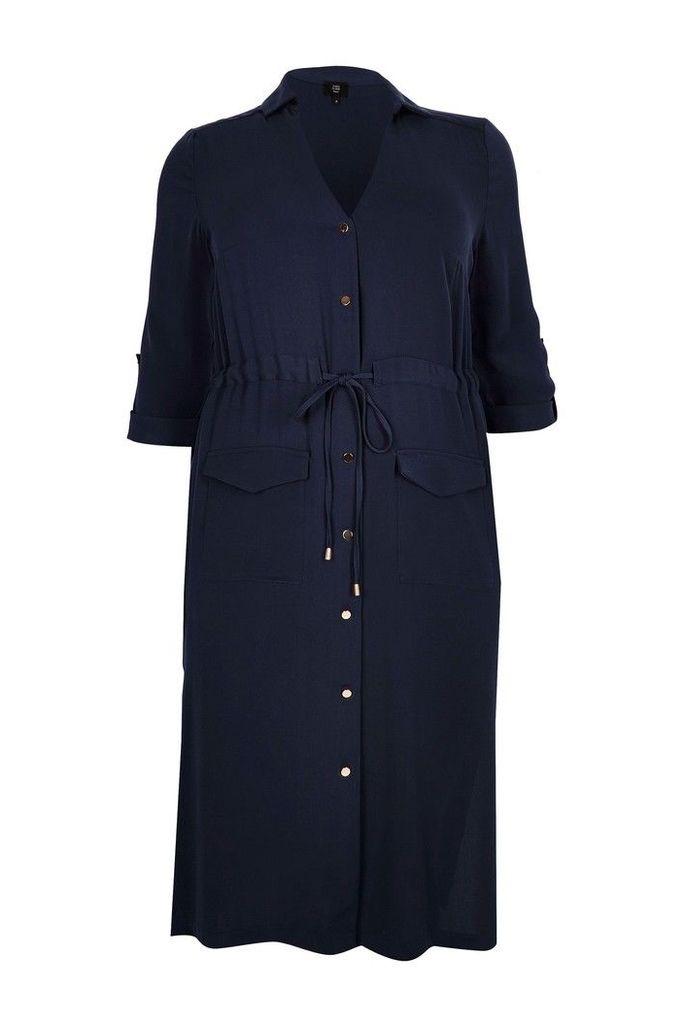 Womens River Island Curve Blue Utility Midi Shirt Dress -  Blue