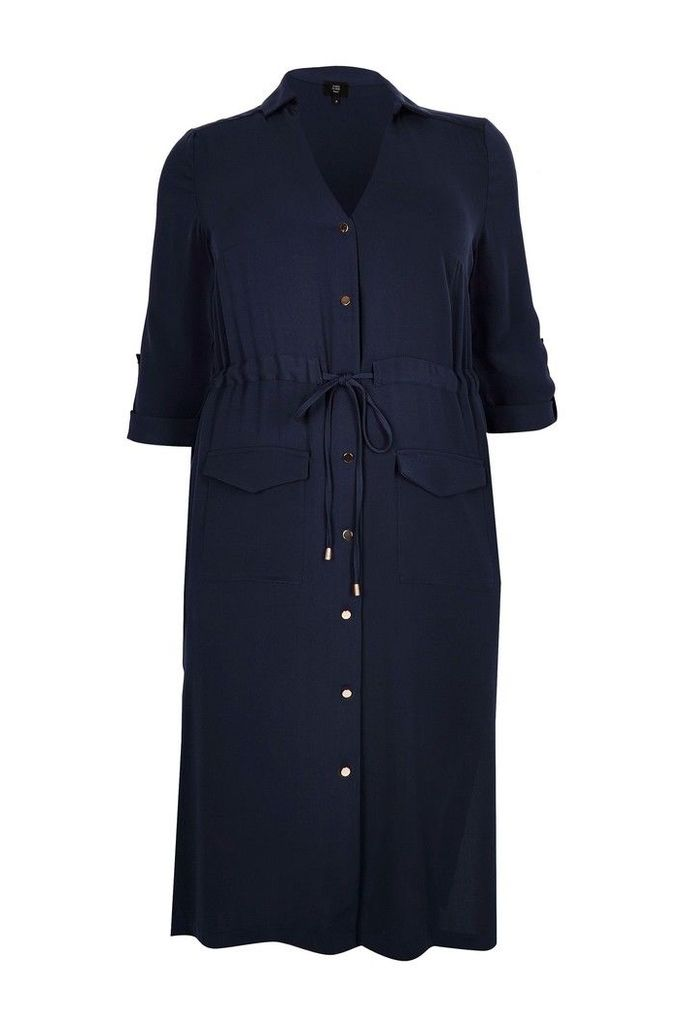 Womens River Island Curve Blue Utility Midi Shirt Dress -  Blue