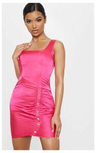 Fuchsia Satin Square Neck Diamante Ruched Bodycon Dress, Pink