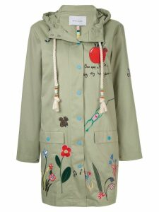 Mira Mikati embroidered hooded coat - Green